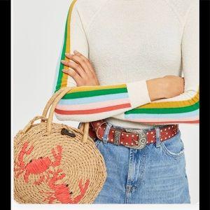 Topshop straw crab crossbody purse bag